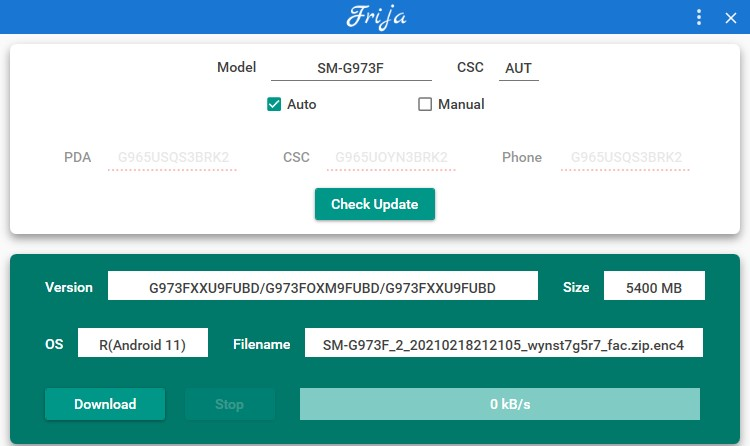 Downloading One UI 3.1 full stock firmware for samsung galaxy s10 using Frija