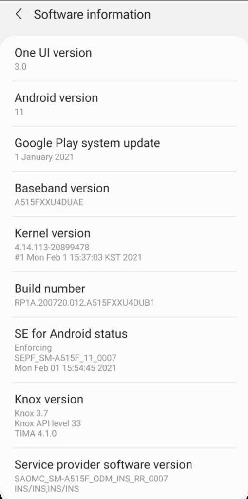 One UI 3.0 on Samsung Galaxy A51 screenshot