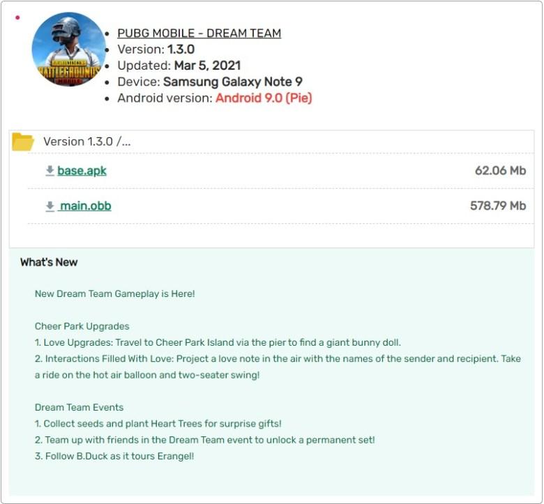 PUBG MBILE 1.3 APK Download via APK downloader Google Play Servers