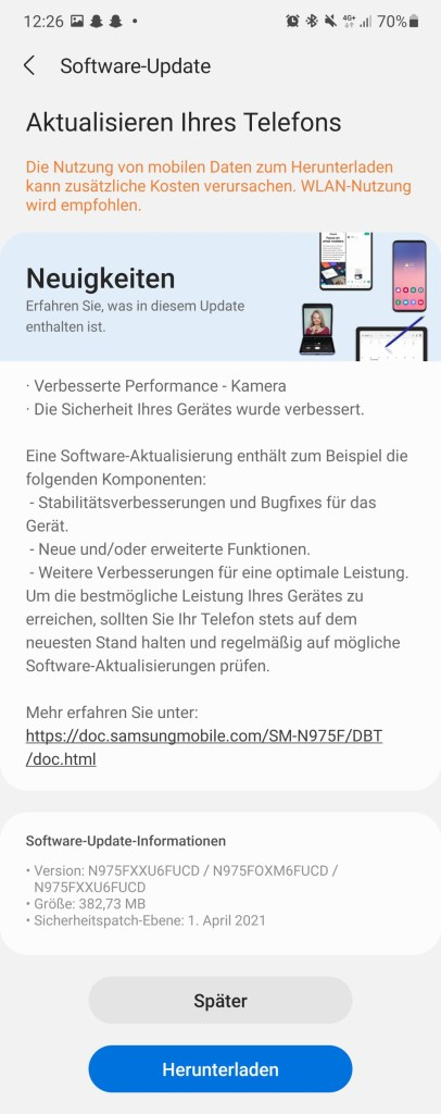 Samsung April 2021 security patch level for Galaxy S10 min