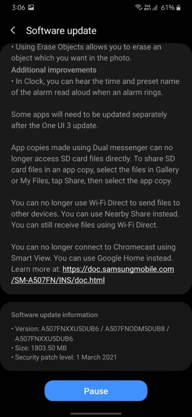 Samsung Galaxy A50s OneUI 3.1 OTA update with Android 11 screenshot