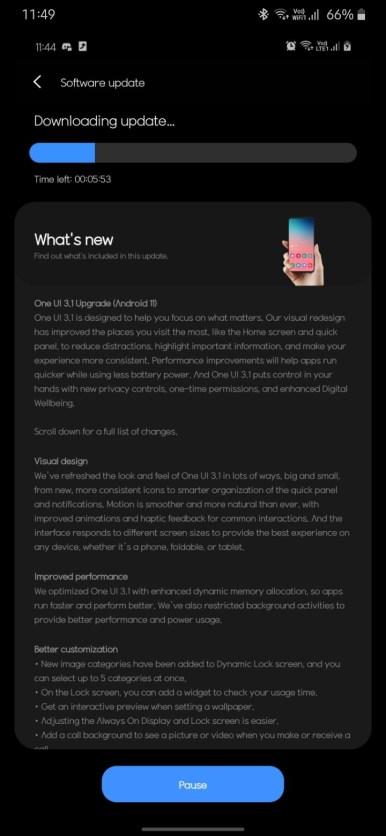 Samsung Galaxy A71 gets OneUI 3.1 OTA update
