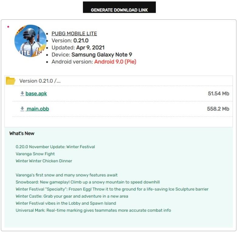 PUBG Mobile Lite 0.21.0 APK Downloader