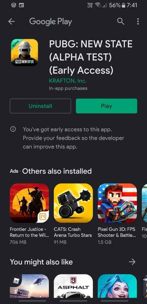 Downloading PUBG New State from Google Play Store