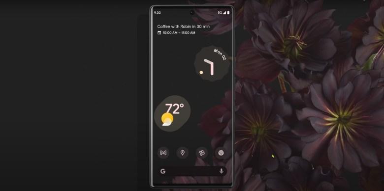Google Pixel 6 and 6 pro front dark mode