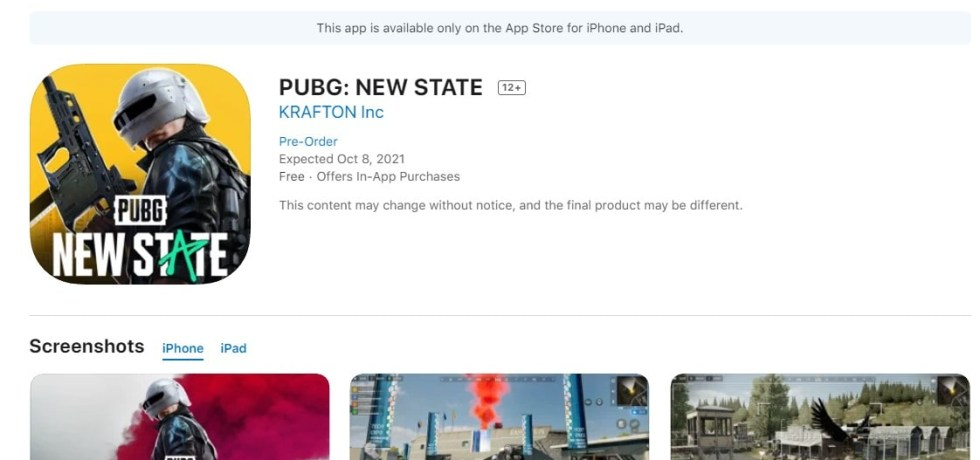 PUBG NEW STATE on the AppStore - iOS Download Link