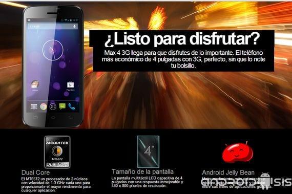 review max cuatro 3g un dispositivo android espanol de doble nucleo y android cuatro dos dos p seis Review MAX cuatro 3G un dispositivo Android® Español de doble núcleo y Android® 4.2.2 por 89 Euros