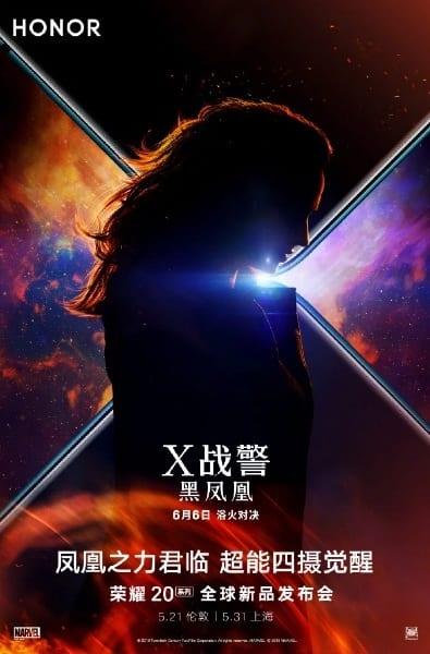 Póster oficial de la serie Honor 20 en asociación con X-Men: Dark Phoenix