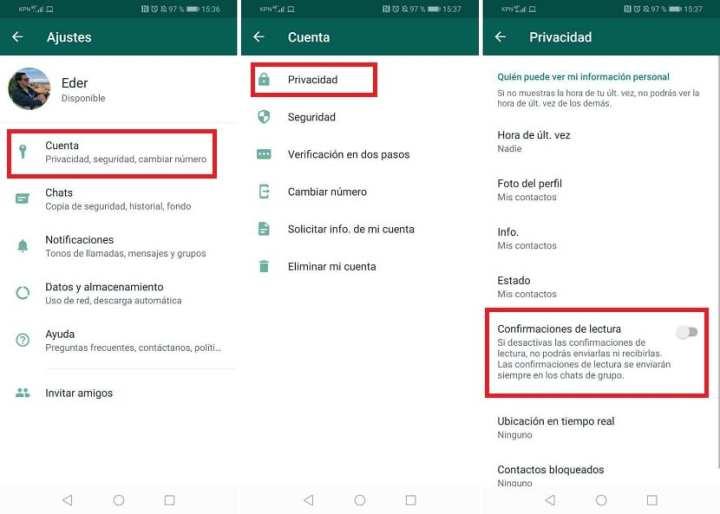 WhatsApp confirmacion de lectura