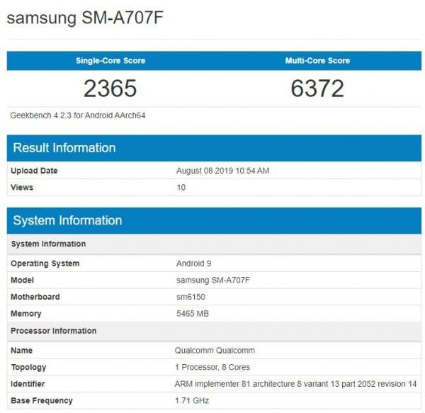 Samsung Galaxy℗ A70s filtrado en Geekbench