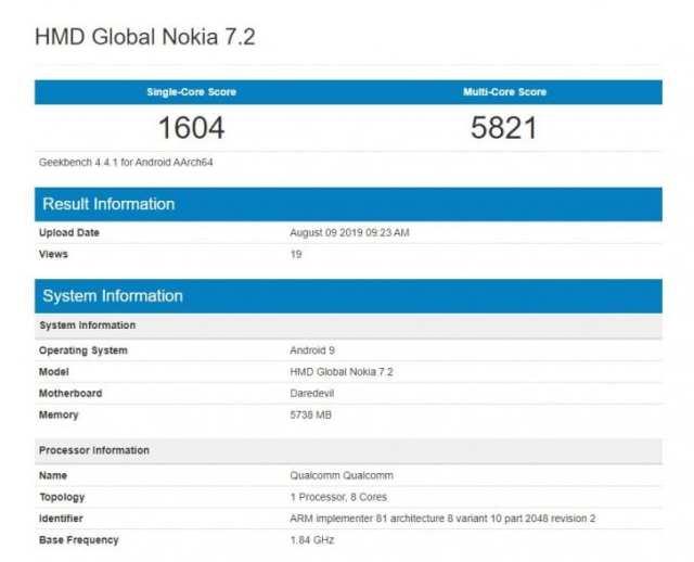 Nokia 7.2 en Geekbench