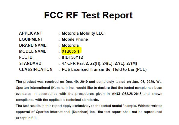 Aprobación del Moto Z5 de Motorola℗ por la FCC