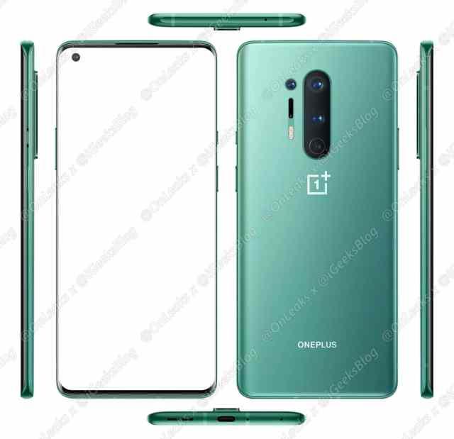 OnePlus 8 Pro filtrado en color verde