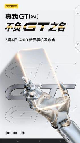 Anuncio de lanzamiento del Realme GT 5G