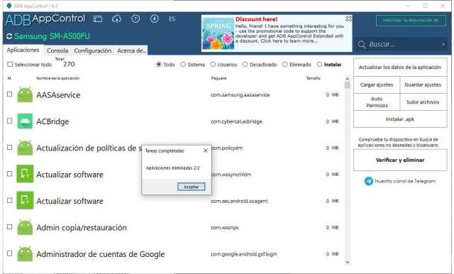 App control desinstalar apps preinstaladas