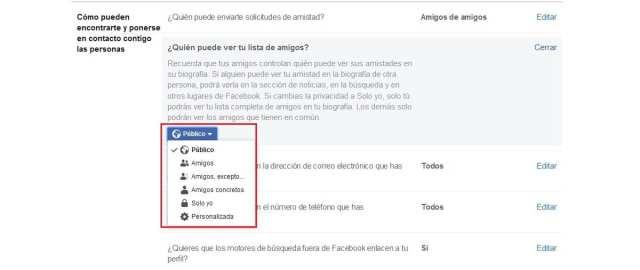 Ocultar amigos en Facebook