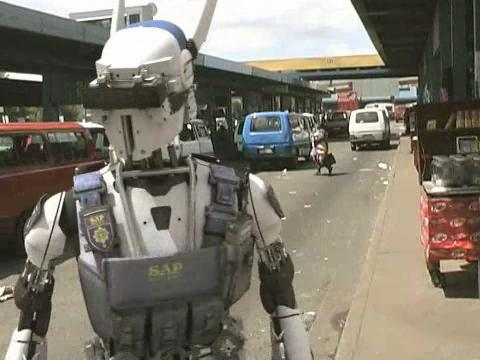 Android cop patroling streets in Johannasburg, South Africa, from Android World (c) Embassy Visual Effects