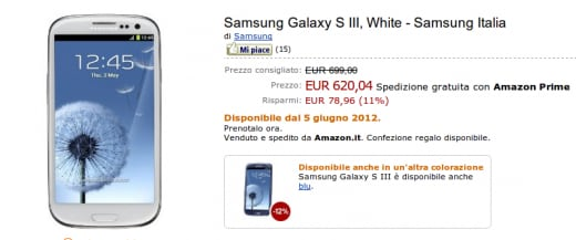 Samsung Galaxy S III su Amazon.it