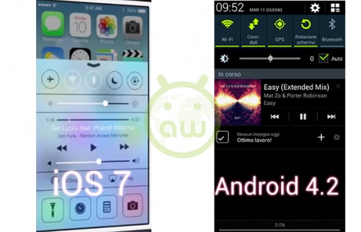 iOS 7 vs Android 4.2: Control Center