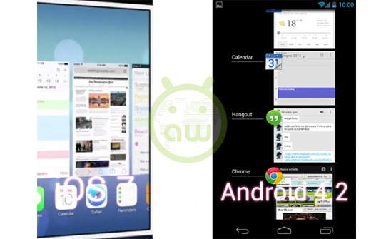 iOS 7 vs Android 4.2: Multitasking