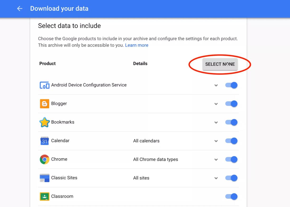 كيفية اخذ نسخة احتياطية من بيانات جوجل باستخدام Google Takeout