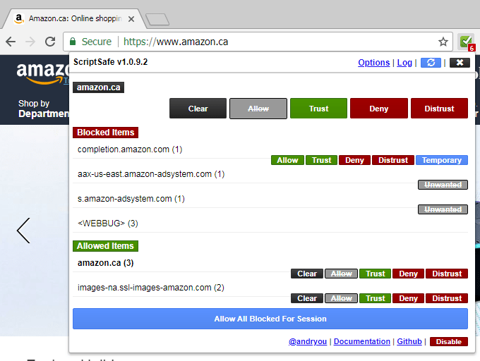 Use ScriptSafe Browser extension for secure browsing