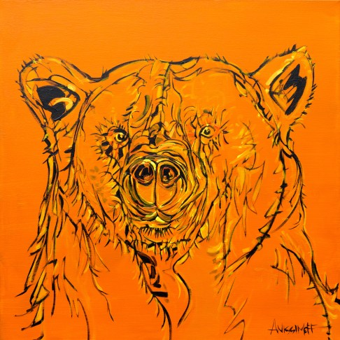 Orange Bear, size 30x30 in., original available $1695, canvas giclée print available in size S1,S2