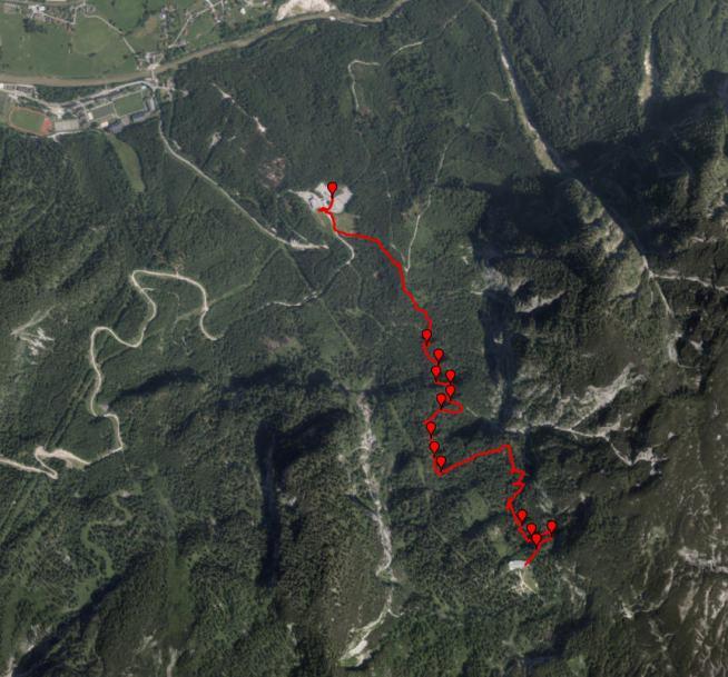 Спутниковая карта трека нашего спуска