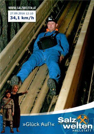 Скоростной спуск в соляную шахту Salzwelten