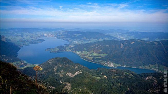 Панорама на озеро Мондзе. Гора Шафберг.