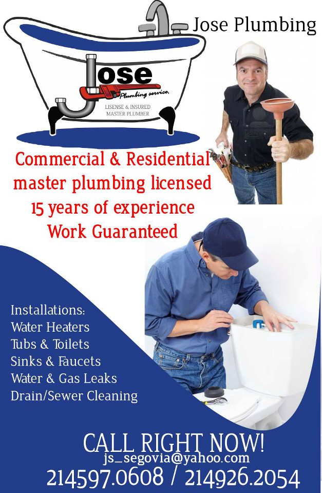 Plumbing Commercial and Residential in Dallas. To promote your business call 214.938.9625