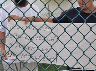 Uighur prisoners protest at Guantanamo, June 1, 2009