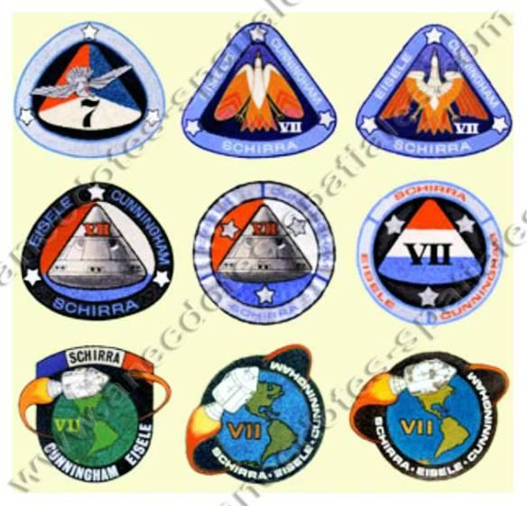 Différentes propositions de badges pour Apollo 7