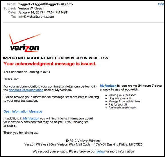 Verizon Acknowledgement Message Scam | An Eclectic Mind