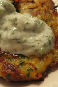Caramelized Onion and Potato Latkes with Herb Yogurt