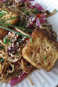Baked Tofu Satay with Peanut-y Noodles
