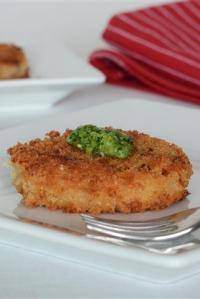 White Asparagus Risotto Cakes with Scallion Pistou