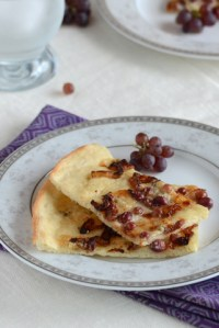 Tarte Flambée with Blue Cheese & Champagne Grapes
