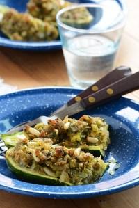 Stuffed Zucchini with Cheesy Breadcrumbs