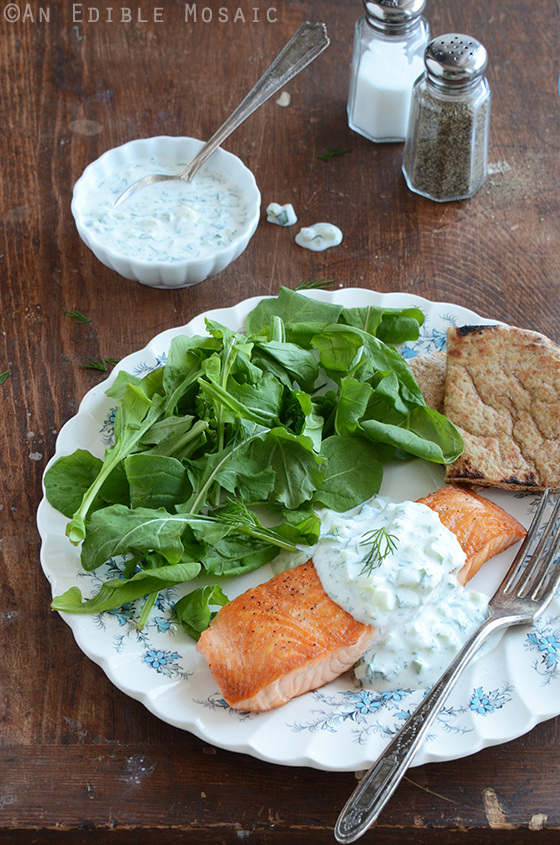 Seared Salmon with Tzatziki Sauce 2