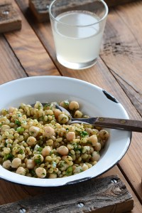 Lemony Chickpea + Herb Wheat Berry Salad