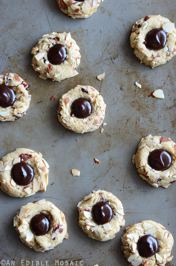 Cranberry Chocolate Almond Thumbprint Cookies 1