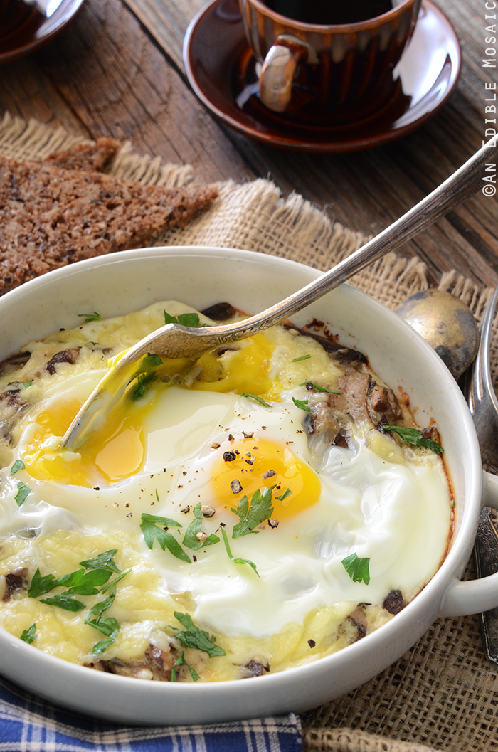 Cheesy Mushroom Baked Eggs for Two 2