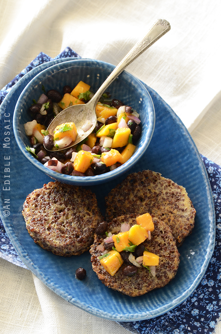 Garlicky Red Quinoa Patties with Mango Black Bean Salsa Recipe 1