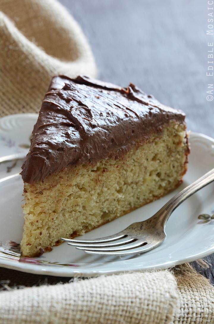 Yellow Banana Cake with Whipped Dark Chocolate Ganache 2