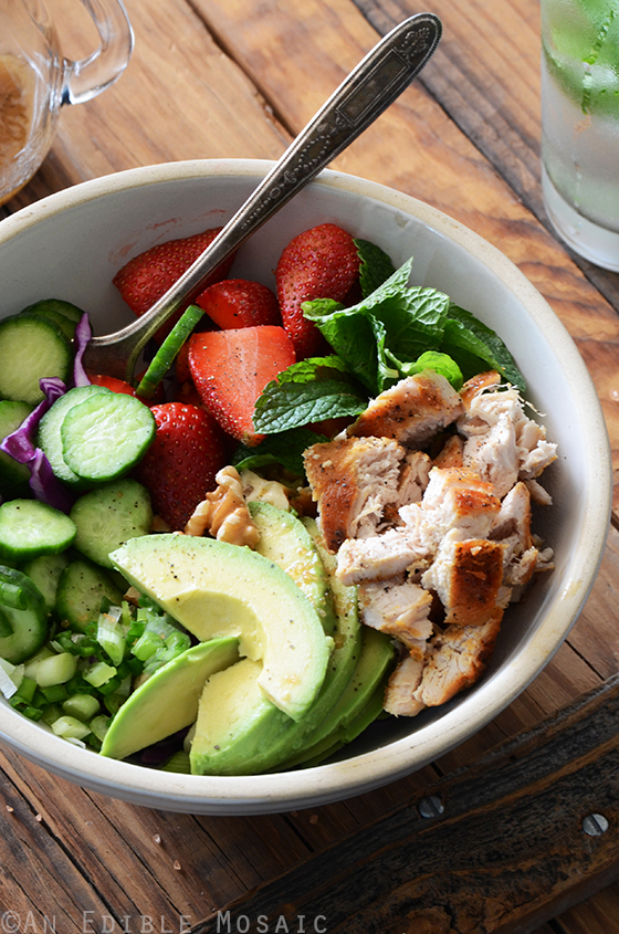 Chicken Salad Bowl with Avocado, Strawberry, and Walnut 4