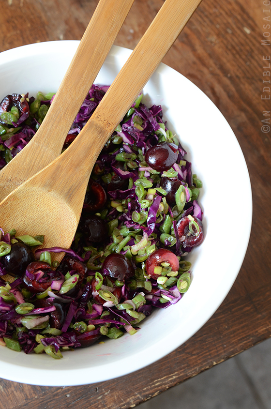 Green Bean Slaw with Cabbage, Cherries, and Lemonade Dressing