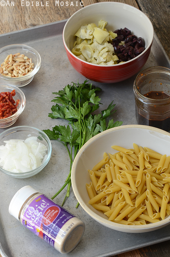 Mediterranean Pasta Salad Ingredients
