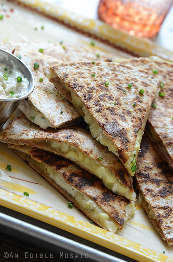"""""""His"""" and """"Hers"""" Fresh Corn Quesadillas with Roasted Garlic and Chive Crema 3"""