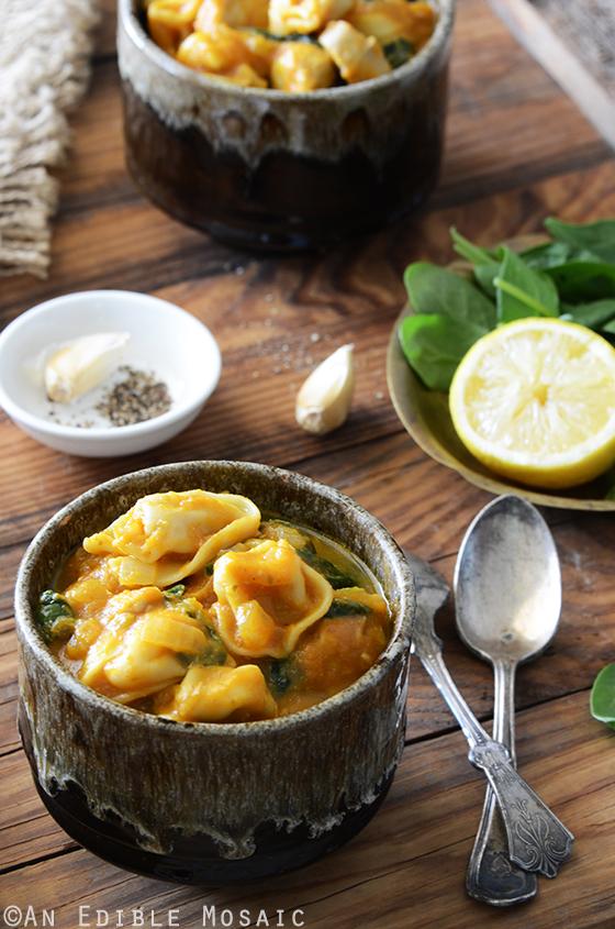 Pumpkin, Chicken and Spinach Tortellini Soup
